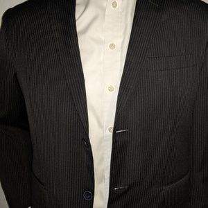 J. Ferra Black PinStripe Sport Coat 38S Excellent